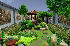 Sân vườn bể cá koi Chị Oanh Biệt Thự Hồ Tây