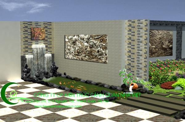 Sân vườn bể cá koi Chị Oanh Biệt Thự Hồ Tây 5