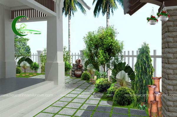 Thiết kế sân vườn biệt thự Bác Sang Hòa Bình 2