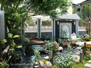 Thiết kế hồ cá koi cho sân vườn biệt thự 2